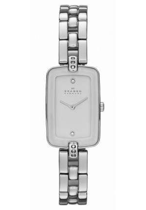 New Skagen SKW2070 White Ceramic Bezel Stainless Steel Ladies Watch
