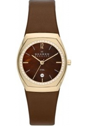 Skagen Women's  Leather Brown/Brown Mother of Pearl Stainless Steel Watch
