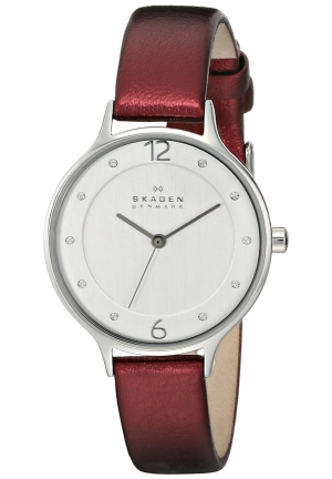Women's Red Skagen Anita Crystallized Dial Watch 30mm