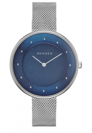 Skagen Silver Steel Bracelet & Case Mineral Women's Watch  38mm