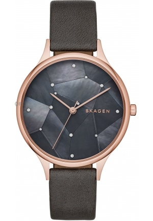 Skagen Anita Grey Crystal Constellation Dial Leather Ladies Watch
