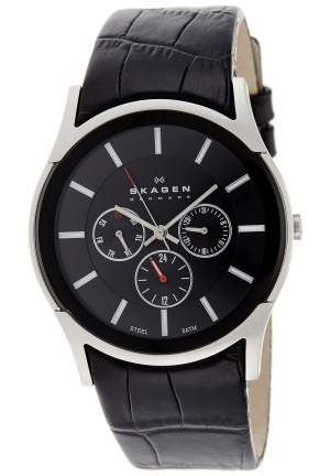 Skagen Classic Textured Brown Leather Men's Watch Skw6001