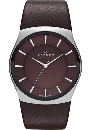New Skagen Brown Round Leather 45mm Men's Watch