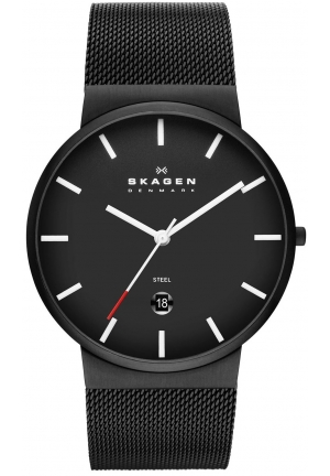 "Skagen Men's ""Ancher"" Black Stainless Steel Watch with Mesh Band"