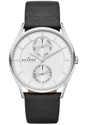 Skagen Men's Black Leather Strap Watch 40mm