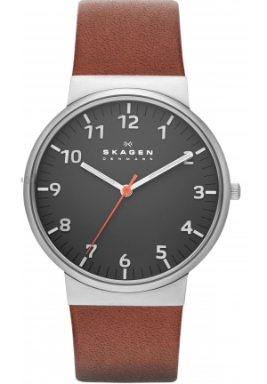 "Skagen Men's  ""Ancher"" Stainless Steel Watch with Brown Leather Band"
