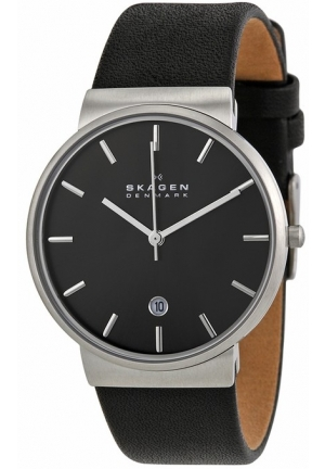 Skagen Ancher Grey Dial Black Leather Mens Watch