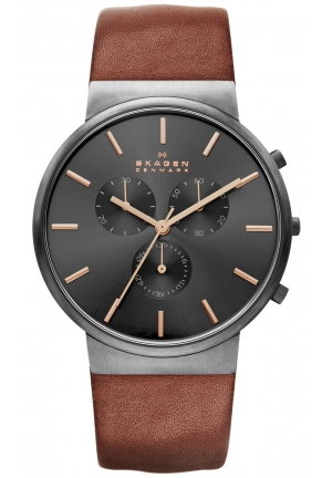"Skagen Men' ""Ancher"" Brown Leather Band"