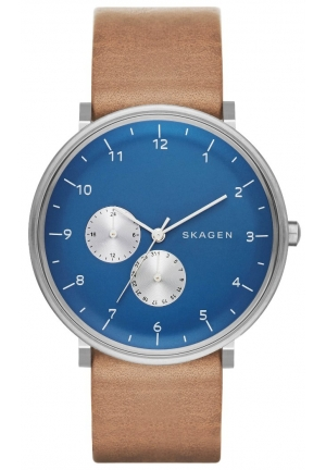 SKAGEN  HALD LEATHER MULTIFUNCTION -TAN/BLUE
