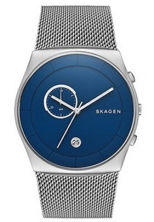 SKAGEN Havene Chronograph Blue Dial Stainless Steel Mesh Bracelet Men's Watch