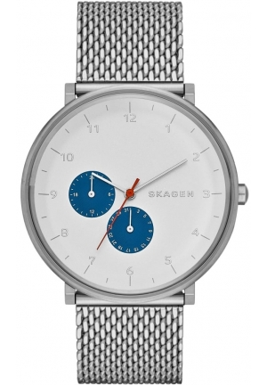 Skagen Hald White Sunblast Dial Stainless Steel Mesh Bracelet Men's Watch SKW6187