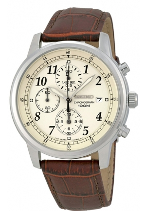 SEIKO Chronograph Beige Dial Brown Leather Men's Watch