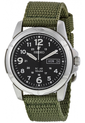 SEIKO Black Dial Green Nylon Solar Quartz Men's Watch