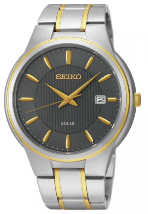 Seiko Two-Tone Color Bracelet Band Grey Dial Watch