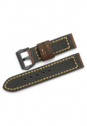 Strap 24mm Calfskin Leather Watch Band Black