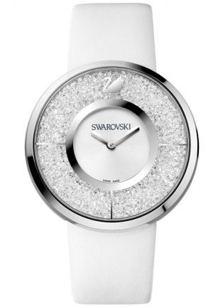SWAROVSKI Women's Swiss Crystalline White Calfskin Leather Strap 40mm
