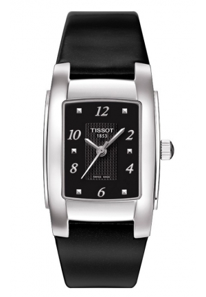 TISSOT T10 Lady Quartz Black Dial Watch with Black Leather Strap T0073091105300 25.5mm