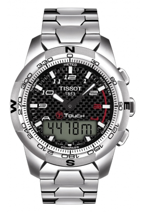 TISSOT T-Touch Expert Men's Quartz Arabic Black Carbon Dial Watch with Titanium Bracelet T0134204420200 44mm