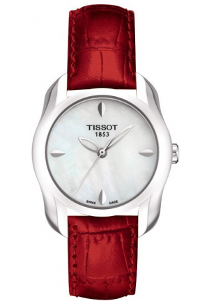 T-WAVE MOTHER OF PEARL DIAL LEATHER STRAP WATCH T023.210.16.111.01, 28.2MM