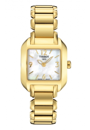 TISSOT T-Wave Women's Quartz White MOP Dial Square Watch with Gold PVD Stainless Steel Bracelet T02528582 24mm