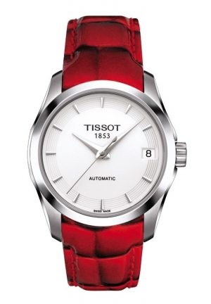 TISSOT COUTURIER AUTOMATIC LADY WHITE DIAL WATCH WITH RED LEATHER STRAP T0352071601101