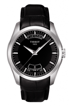 TISSOT Couturier Men's Black Automatic Leather Watch T0354071605100, 39mm