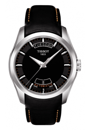 TISSOT Couturier Men's Black & Orange Automatic Leather Watch T0354071605101, 39mm