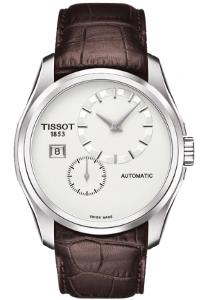 TISSOT Couturier Automatic Silver Dial Brown Leather Men's Watch T0354281603100