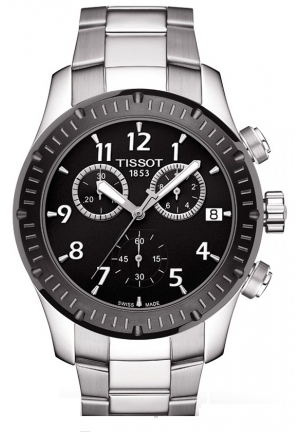 Tissot V8 Chronograph Black Dial Stainless Steel Mens Watch , T0394172105700 42mm