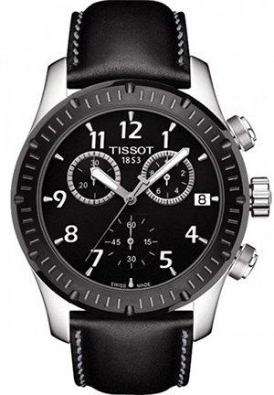 v8 chronograph black dial black leather mens watch , T0394172605700 42.5mm