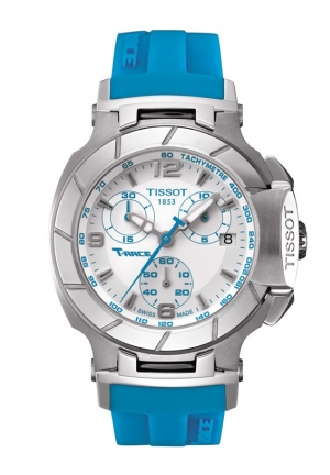 TISSOT T-Race Women's Quartz Chronograph White Dial Watch with Blue Rubber Strap T0482171701702 37mm