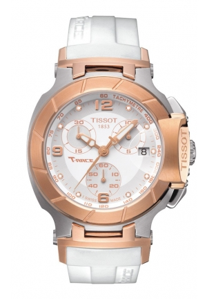 TISSOT T-Race Women's Quartz Rose Gold PVD Case with White Dial and Diamonds Watch T0482172701601 37mm