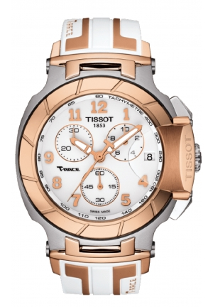 T-Race Quartz Chrono White Dial with White & Rose Gold Silicone Strap T048.417.27.012.00