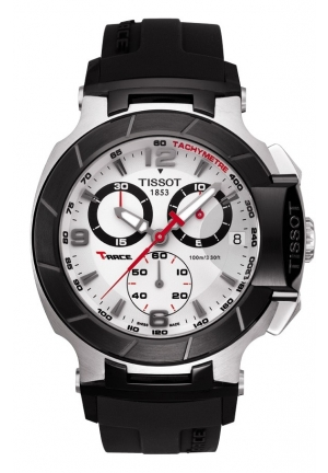 TISSOT T-Race Men's Silver Quartz Chronograph Sport Watch T0484172703700, 45.3mm