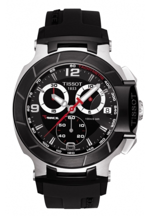 TISSOT T-Race Men's Black Quartz Chronograph Rubber Strap Watch T0484172705700, 45.3mm