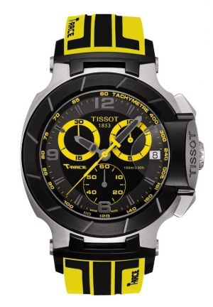 TISSOT T-Race Men's Quartz Chronograph Watch with Black Dial and Yellow Strap , T0484172705711 45.3mm