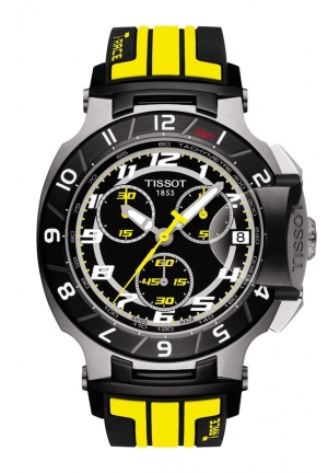 TISSOT T-Race Thomas Luthi Limited Edition 2014 Men's Quartz Black Dial Watch with Yellow Rubber Strap , T0484172705713 45mm