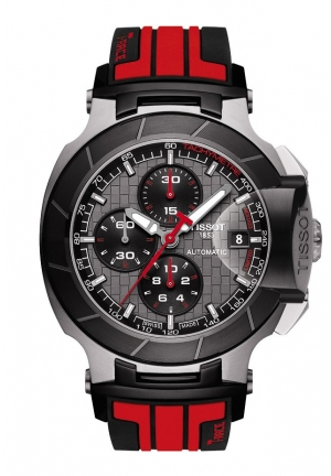 TISSOT T-Race MotoGP Limited Edition 2014 Men's Automatic Chrono Anthracite Dial Watch with Red Rubber Strap T0484272706100, 45.33mm