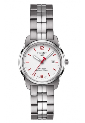 TISSOT PR 100 Asian Games 2014 Lady Automatic Silver Dial Watch with Stainless Steel Bracelet T0493071103701 28mm