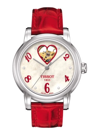 TISSOT LADY HEART AUTOMATIC red leather T0502071611602 35mm
