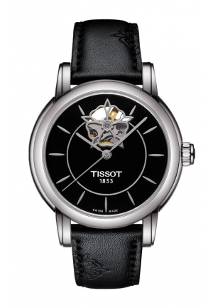 TISSOT Lady Heart Powermatic 80 Black Dial with Diamond Watch and Black Leather Strap T0502071705104 35mm