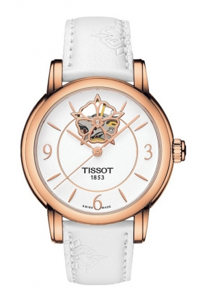 TISSOT Lady Heart Powermatic 80 Rose Gold Case White Dial Watch with White Rubber Strap, T0502073701704 35mm