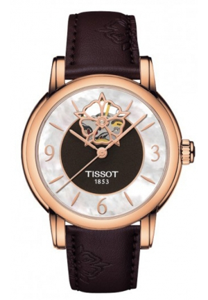 TISSOT LADY HEART POWERMATIC 80 ROSE GOLD CASE BROWN MOP DIAL WATCH T0502073711704 35mm