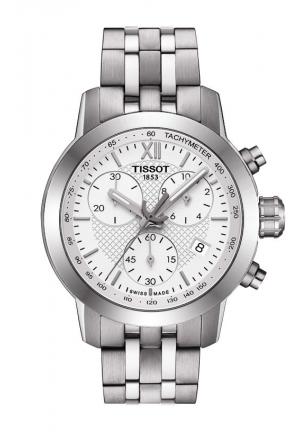 TISSOT PRC 200 Fencing Lady Quartz Chronograph White Dial Watch with Stainless Steel Bracelet T0552171101800 35mm