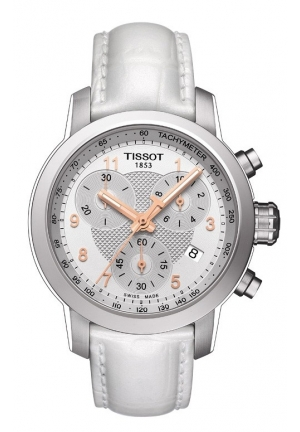 TISSOT PRC 200 Women's Quartz Chronograph - Silver Dial With White Leather Strap T0552171603201, 35mm