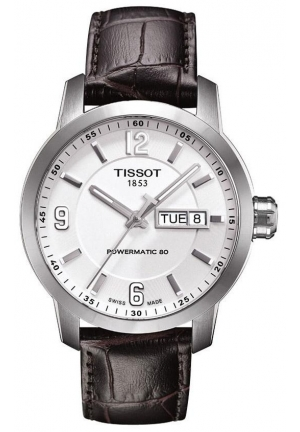 TISSOT PRC 200 Automatic Men's White Dial Watch with Brown Leather Strap, T0554301601700 39mm