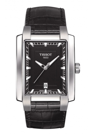 TISSOT TXL Women's Quartz Black Dial Watch with Black Leather Strap T0613101605100 33x29mm