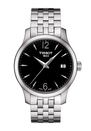 TISSOT Tradition Women's Quartz Black Dial Watch with Stainless Steel Bracelet T0632101105700 33mm