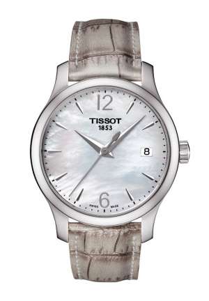 TISSOT Tradition Women's Quartz White MOP Dial Watch with Grey Synthetic Strap T0632101711700 33mm