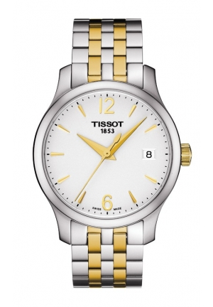 TISSOT Tradition Lady Quartz Silver Dial Watch with Two-Tone Stainless Steel Bracelet T0632102203700 33mm